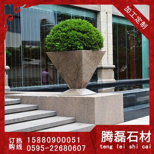 石头花盆批发的价格    制作石雕花盆厂家  腾磊