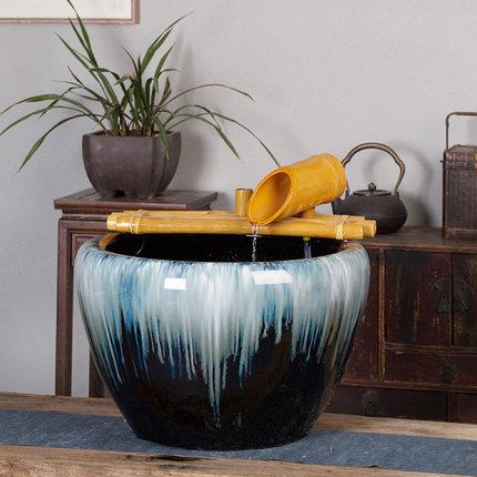 招财家用客厅电视柜流水摆件景德镇陶瓷喷泉桌面加湿器