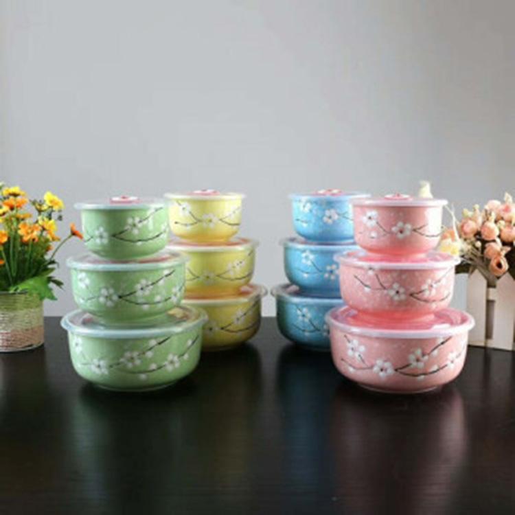 陶瓷餐具饭盒 保鲜碗带盖便当盒密封盒带饭盒直身保鲜碗三件套