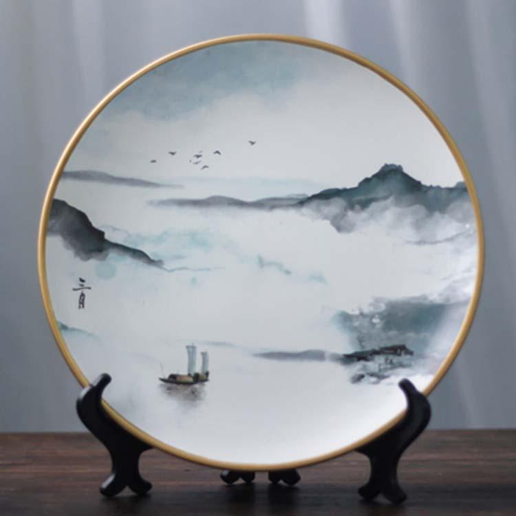 新中式陶瓷装饰盘子摆件餐厅墙上装饰品客厅电视柜玄关看盘摆设