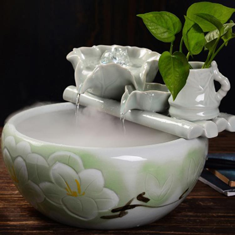 陶瓷圆形装饰水景搭配小鱼缸过滤增氧流水器