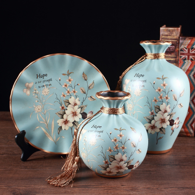 欧式陶瓷花瓶三件套插花摆件美式复古客厅电视柜酒柜创意装饰摆件