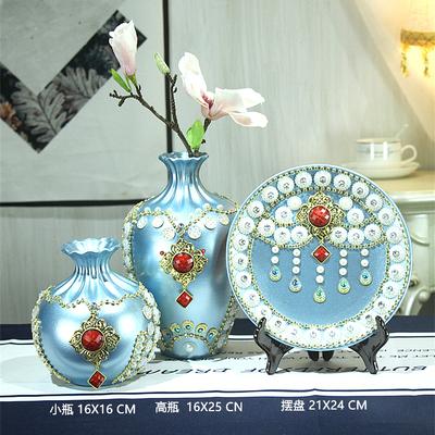 欧式客厅玄关花瓶陶瓷摆件美式家居餐桌干花插花电视柜装饰品摆设