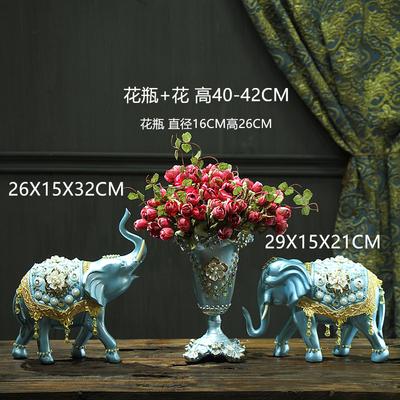 欧式花瓶三件套客厅干花插花陶瓷摆件美式电视柜餐桌家居软装饰品
