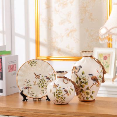 欧式陶瓷花瓶三件套家居客厅电视柜创意装饰品玄关结婚礼品摆件