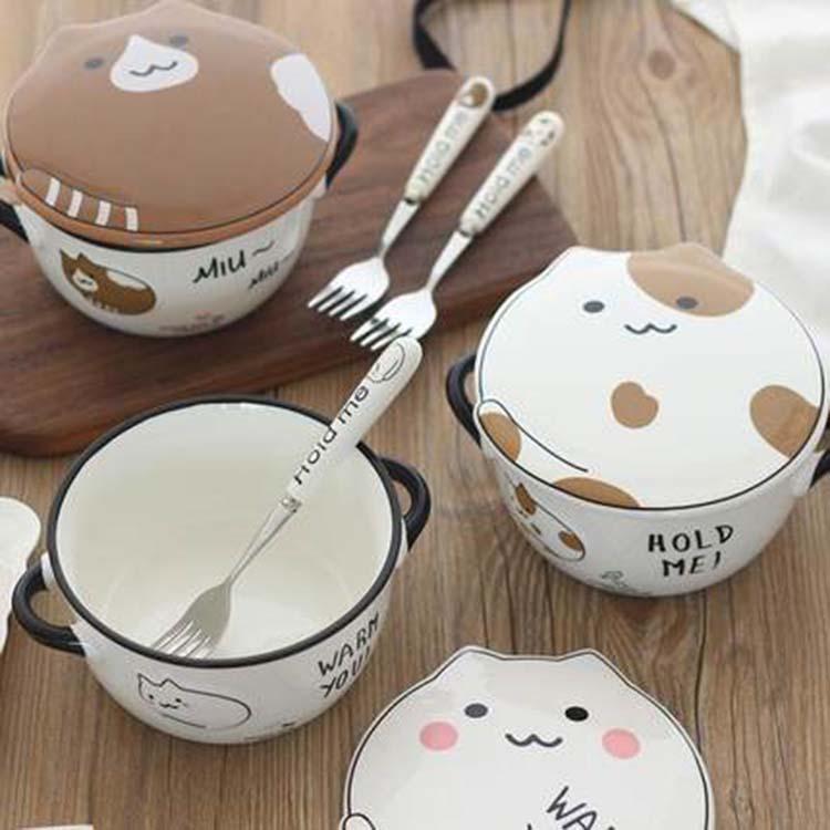 辰天陶瓷 ***骨瓷保鲜碗三件套保鲜盒釉中彩微波炉带盖便当饭盒