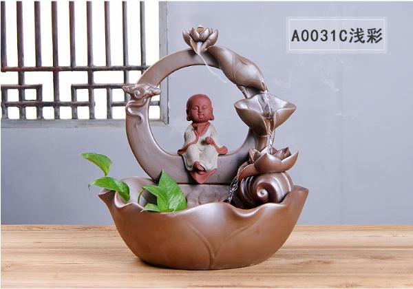 传统陶瓷工艺品摆件三圣倒流香炉雾化喷泉流水器花盆