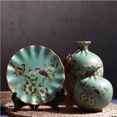 轻奢欧式花瓶摆件 花瓶三件套陶瓷摆设玄关电视柜装工艺品