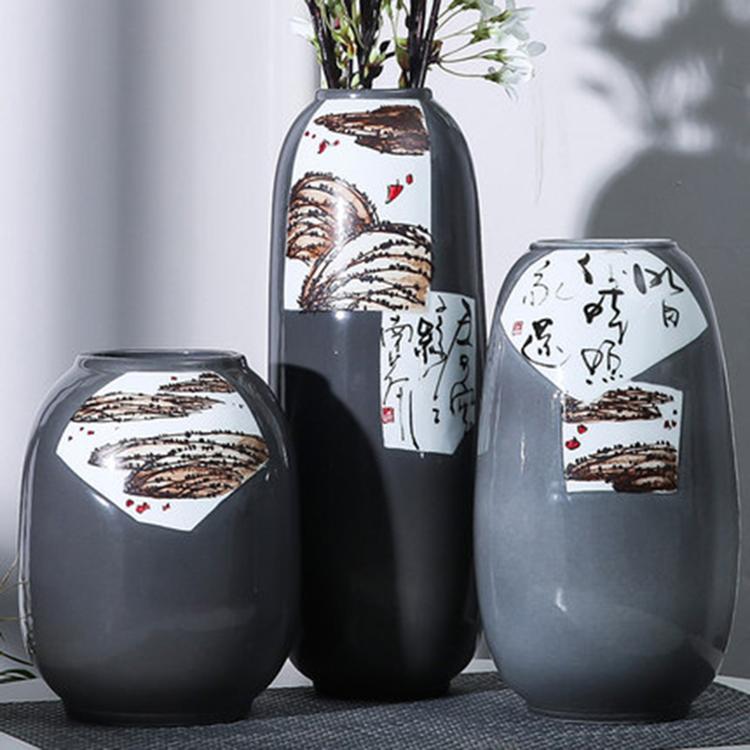 简约创意花瓶摆件 玄关客厅电视柜花瓶3件套 北欧家居装饰瓷瓶