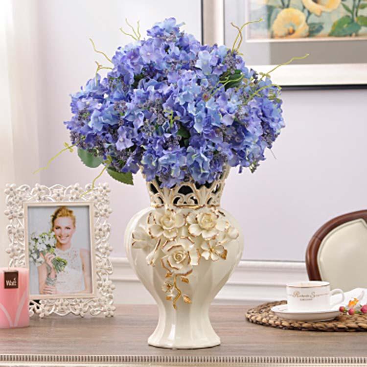 欧式陶瓷摆件插花花瓶 客厅电视柜装饰品 开业结婚乔迁礼品