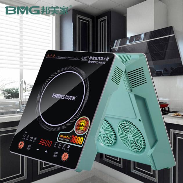 邦美家纯铜线盘电磁炉智能防水厨电黑晶板大功率商用电陶炉