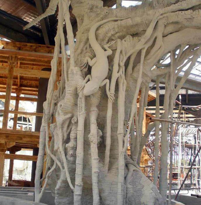 元寶山假樹廠家假樹假山圖片 元寶山水泥假樹設計制作
