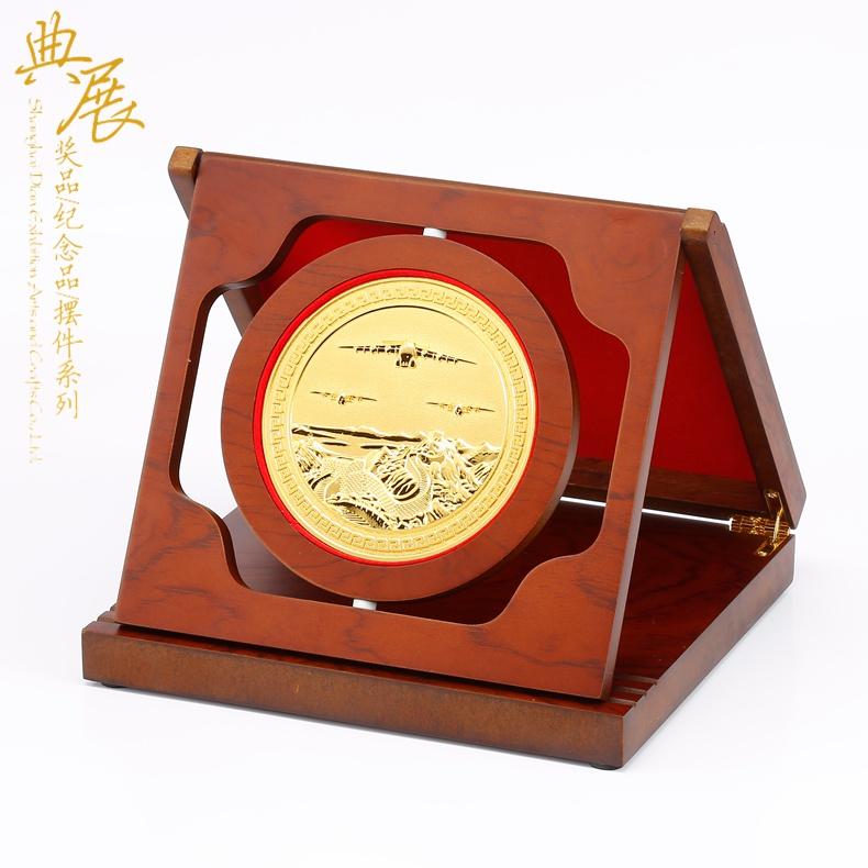 昆明市分公司建成留念,年中會議純銅獎牌定做,竣工鍍金工藝盤