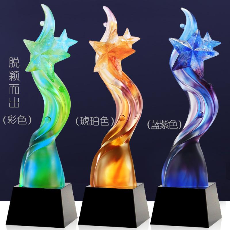 供應常州琉璃獎杯定制,五角星琉璃獎杯生產工廠