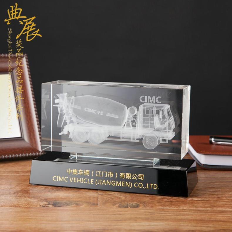 工程車公司成立25周年紀念品,車模,水晶立體3維擺件
