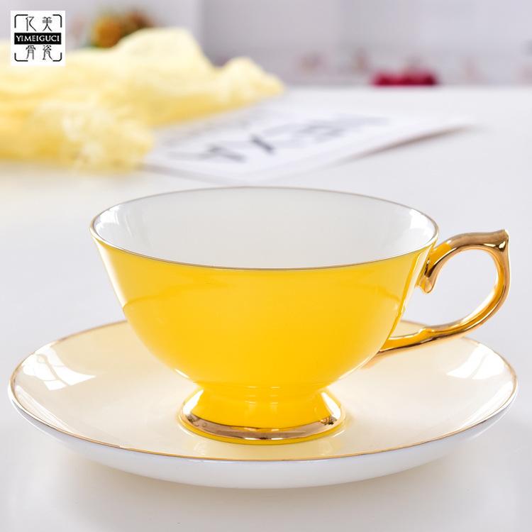 瓷億美廠家批發陶瓷咖啡杯套裝高溫色釉咖啡杯骨瓷下午茶杯碟