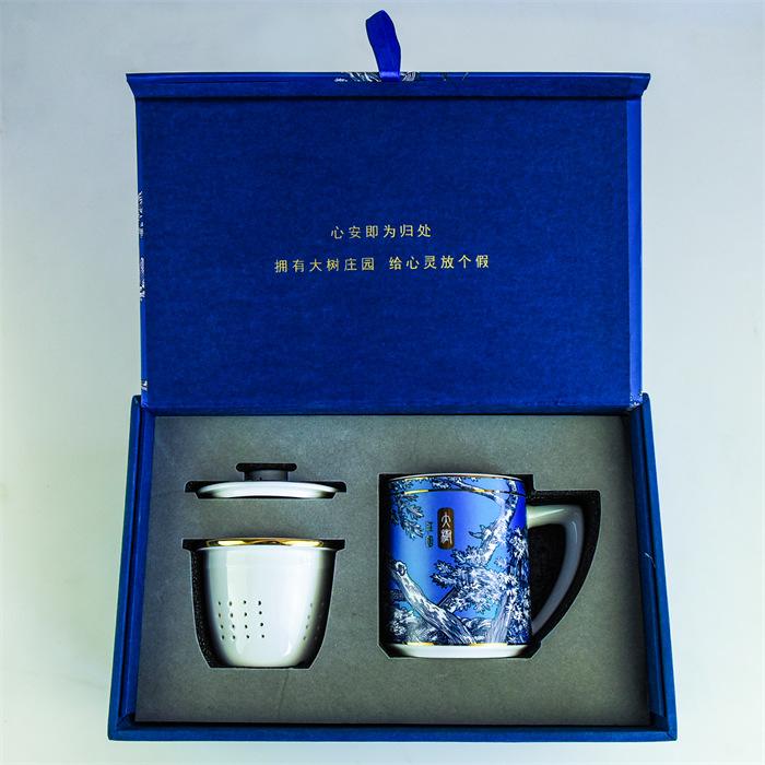 達美瓷業禮盒包裝茶水分離杯 陶瓷茶具 骨質瓷茶漏蓋杯