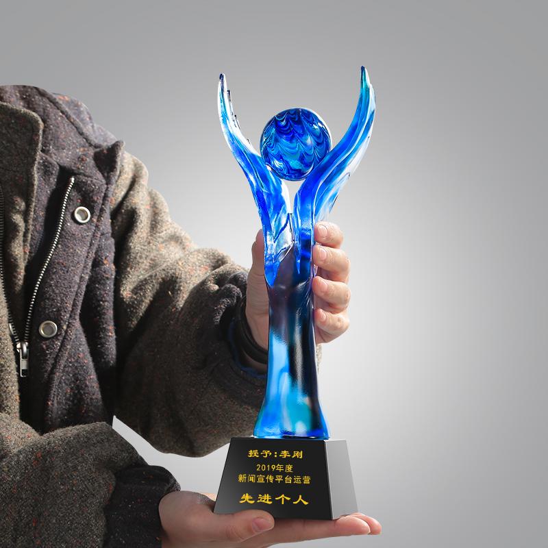 琉璃奖杯摆件厂家,爱心活动奖杯,企业颁奖创新奖奖杯