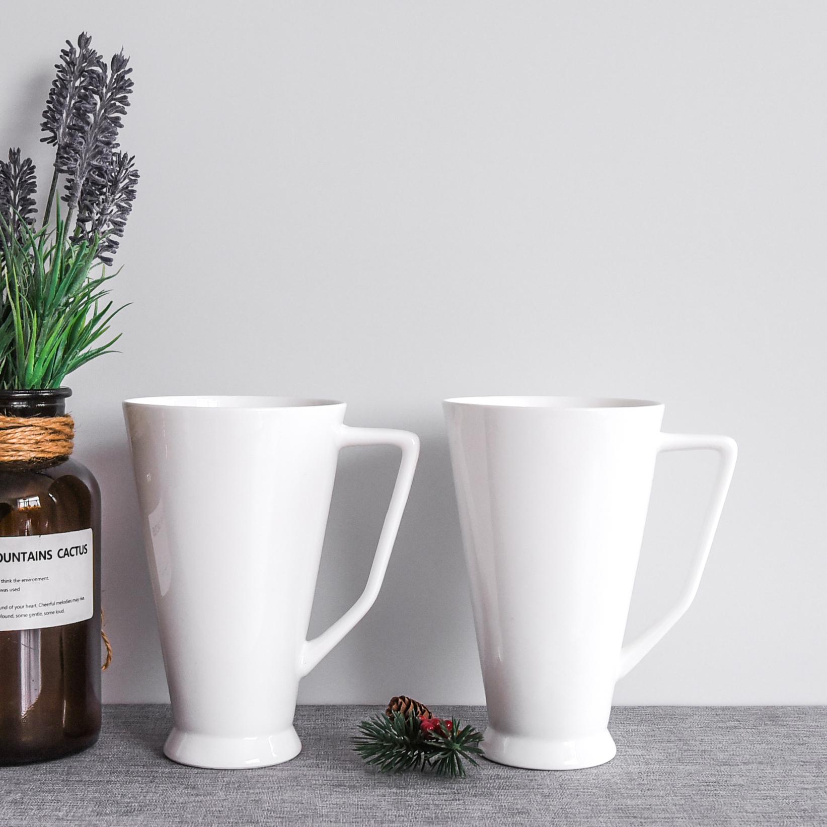 達美瓷業陶瓷水杯企業廣告宣傳用杯可印畫面高腳大容量骨瓷馬克杯